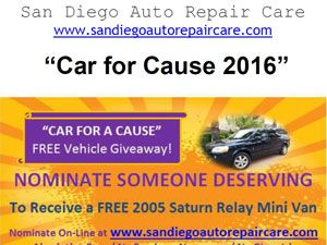 Car For A Cause Saturn Vehicle Information Sheet